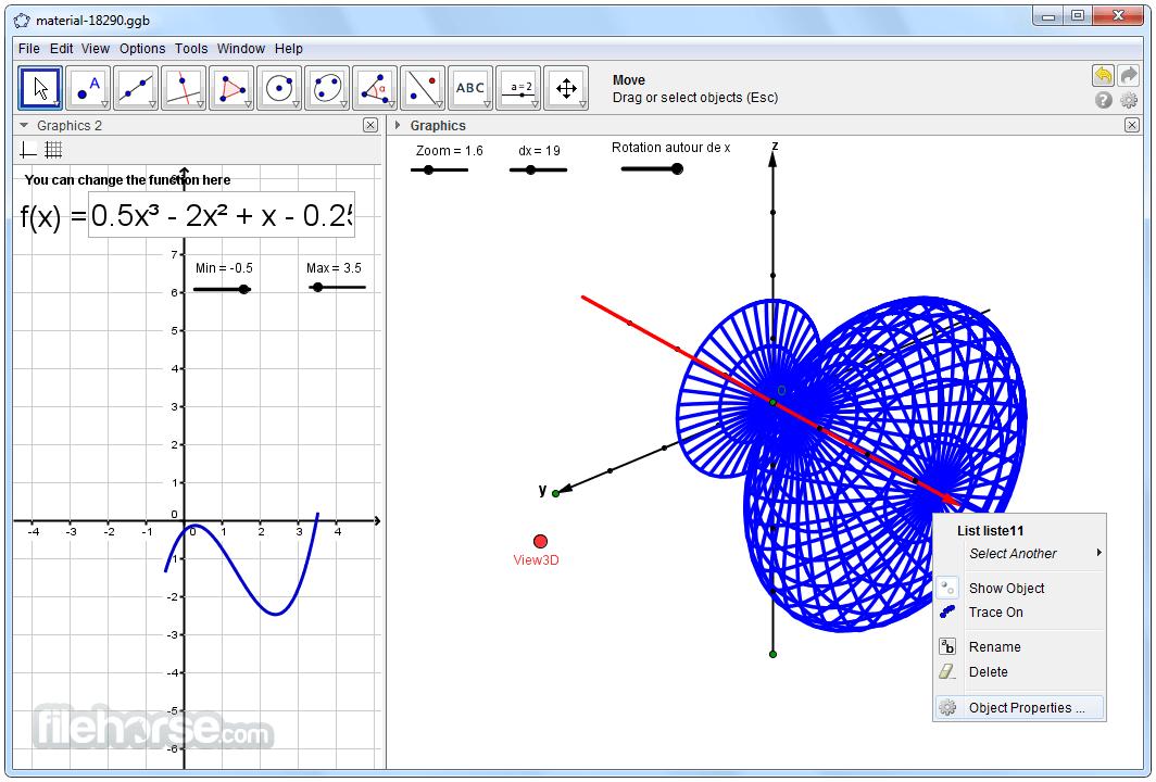برنامج  GeoGebra 6.0.353.0 الرائع للرياضيات وللتعامل مع المعادلات الرياضية المعقدة 2017